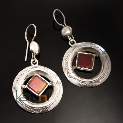 Ethnic Earrings Sterling Silver Jewelry Hollowed Round Red Agate Tuareg Tribe Design 08