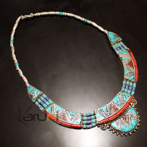 Turquoise Root Coral Necklace 14