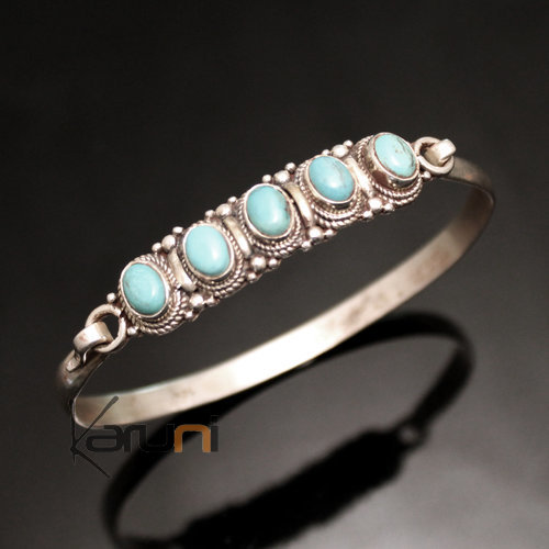 Indian Ethnic Jewelry Bracelet Sterling Silver 925 Nepal 35 Bangle Attache 5 Stones Turquoise Filigree Newari
