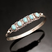 Bracelet Sterling Silver 925 Nepal 35 Bangle Attache 5 Stones Turquoise