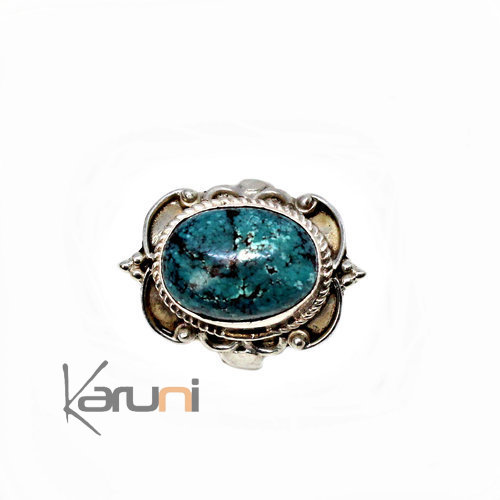 Silver Turquoise  ring ethnical jewellery 1080