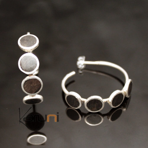 Ethnic Hoop Earrings Sterling Silver Jewelry 4 Ebony Pieces Tuareg Tribe Design 16