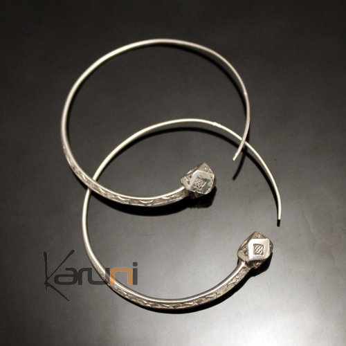 Ethnic Hoop Earrings Sterling Silver Jewelry Tesibit Engraved Balls Tuareg Tribe Design 12 5 cm