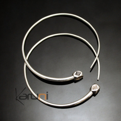 Ethnic Hoop Earrings Sterling Silver Jewelry Tesibit Smooth Balls Tuareg Tribe Design 13 5 cm