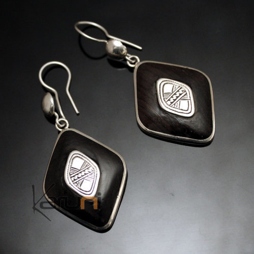 Ethnic Earrings Sterling Silver Jewelry Ebony Engraved Central Diamond Tuareg Tribe Design 103