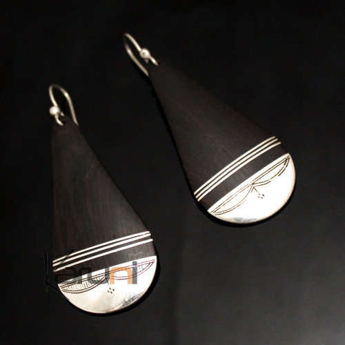 Ethnic Earrings Sterling Silver Jewelry Ebony Big Engraved Drop Tuareg Tribe Design 135