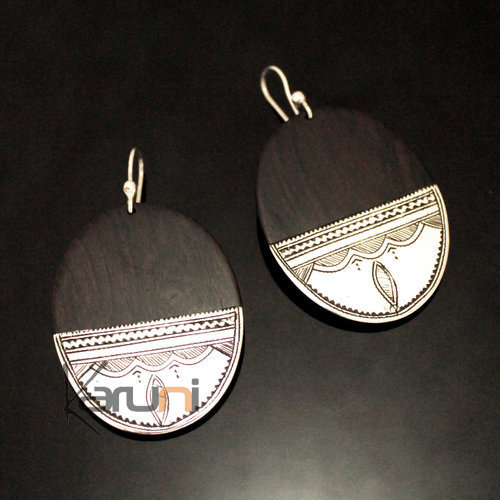 Ethnic Earrings Sterling Silver Jewelry Ebony Big Engraved Oval Tuareg Tribe Design 148