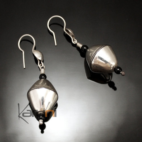 Ethnic Earrings Sterling Silver Jewelry Beads Spinning Top Ebony Lines Tuareg Tribe Design 87