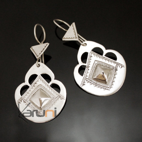 Ethnic Earrings Sterling Silver Jewelry Engraved Scalloped Drop Tuareg Tribe Design 92