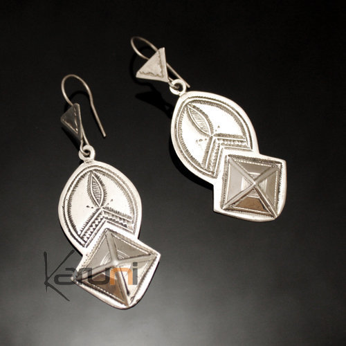Ethnic Earrings Sterling Silver Jewelry Big Engraved Pendant Tuareg Tribe Design 93