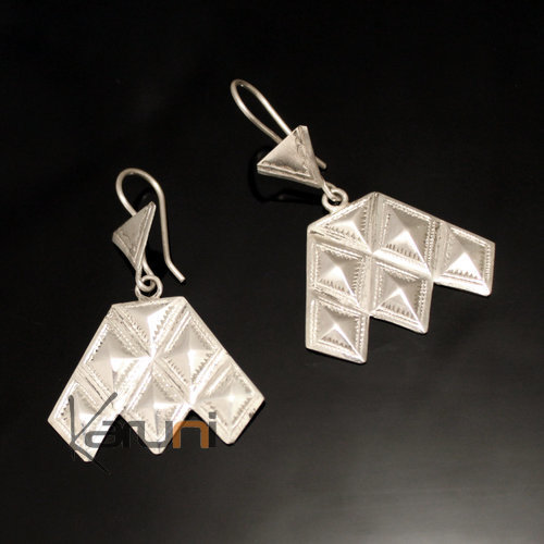 Ethnic Earrings Sterling Silver Jewelry Diamonds Big Houmaissa Niger Tuareg Tribe Design 94