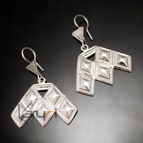 Ethnic Earrings Sterling Silver Openwork Jewelry Diamonds Big Houmaissa Niger Tuareg Tribe Design 97