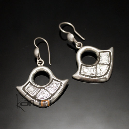 Ethnic African Earrings Sterling Silver Jewelry Engraved Ebony Hollow Pendant Tuareg Tribe Design 113