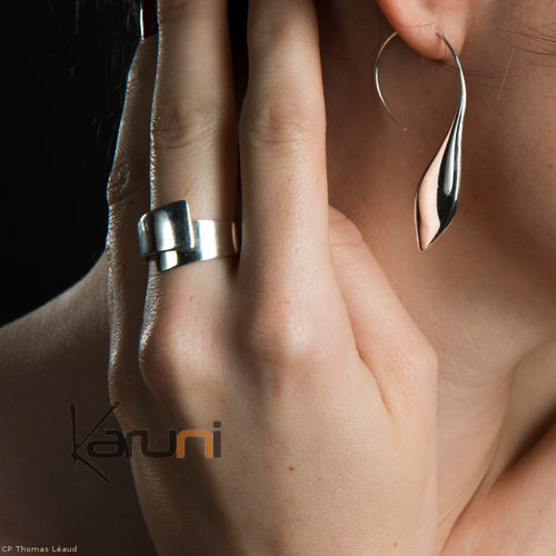 Ethnic Hoop Earrings Sterling Silver Jewelry Smooth Leaf Tuareg Tribe Design 48 KARUNI