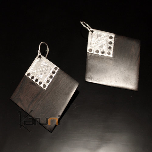 Ethnic Earrings Sterling Silver Jewelry Ebony Big Lacy Engraved Diamonds Tuareg Tribe Design 161