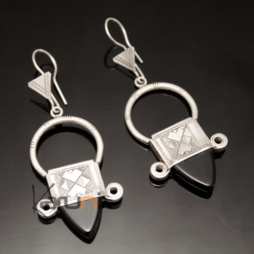 Ethnic Southern Cross Earrings Sterling Silver Jewelry from Ingall Niger Black Tuareg Tribe Design 07