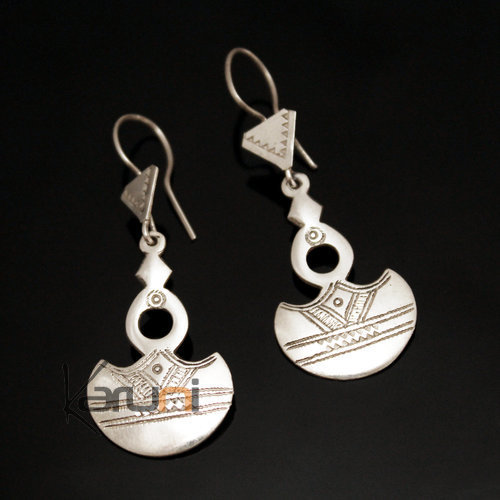 Ethnic Southern Cross Earrings Sterling Silver Moon Crescent Jewelry Niger Tuareg Tribe Design 163 4,5 cm