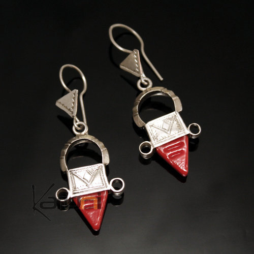 Ethnic Southern Cross Earrings Sterling Silver Thin Jewelry from Ingall Niger Red Tuareg Tribe Design 11