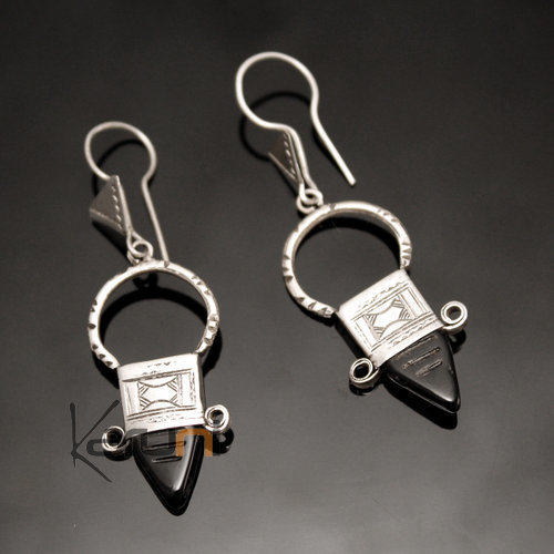 Ethnic Southern Cross Earrings Sterling Silver Thin Jewelry from Ingall Niger Black Tuareg Tribe Design 11