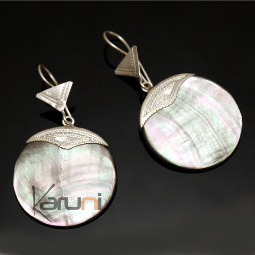 Ethnic Earrings Sterling Silver Jewelry Big Engraved Mother of Pearl Round Tuareg Tribe Design 31
