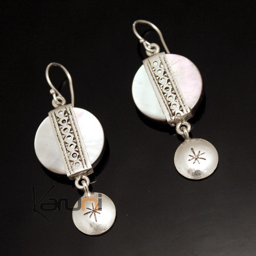 Ethnic Earrings Sterling Silver Jewelry Round Mother of Pearl Lacy Pendants Tuareg Tribe Design 33