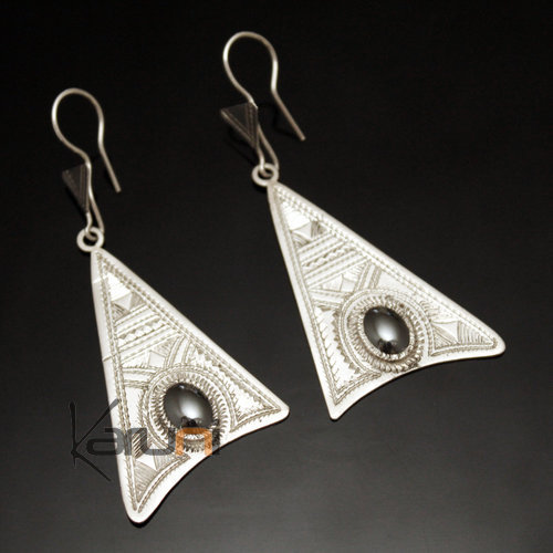 Ethnic Earrings Sterling Silver Jewelry Long Engraved Triangle Hematite Pendants Tuareg Tribe Design 34