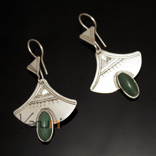 Ethnic Earrings Sterling Silver Jewelry Engraved Lily Green Jade Tuareg Tribe Design 38