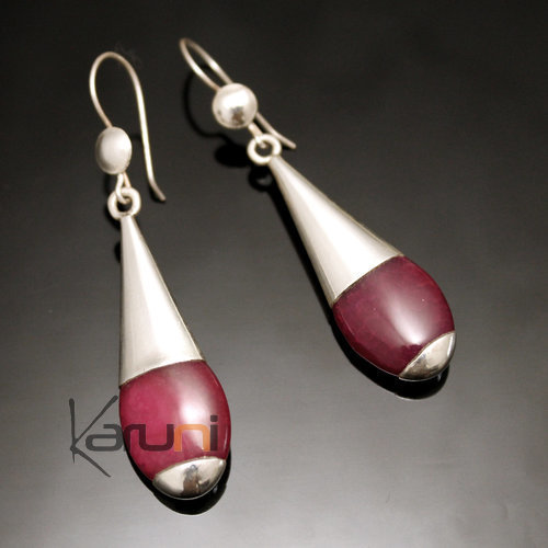 Ethnic Drop Earrings Sterling Silver Jewelry Long Smooth Pink Fire Agate Tuareg Tribe Design 43