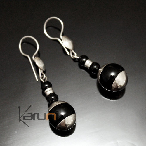 Ethnic Earrings Sterling Silver Jewelry Black Onyx Round Hand-crafted Glass Beads Tuareg Tribe Design 51