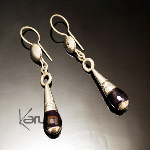 Ethnic Drop Earrings Sterling Silver Jewelry Faceted Amethyst Hoops Tuareg Tribe Design 52