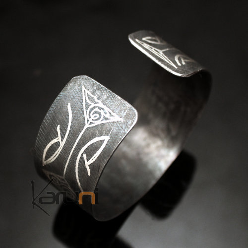 Berber Silver and Steel Cuff Bracelet