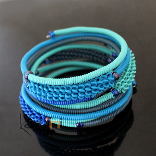 Tribal Jewelry Bracelet Bangles Fashion Spiral Zulu African Design Telephone Wire Mahatsara 5 cm Turquoise/Light Blue