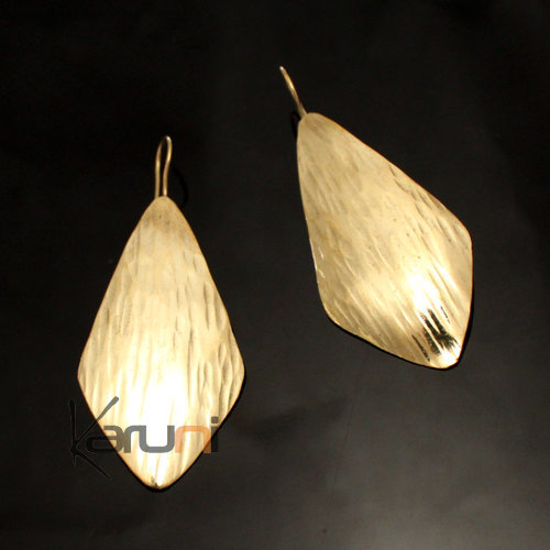 Fulani Earrings Golden Bronze Long Leaves African Ethnic Jewelry Mali