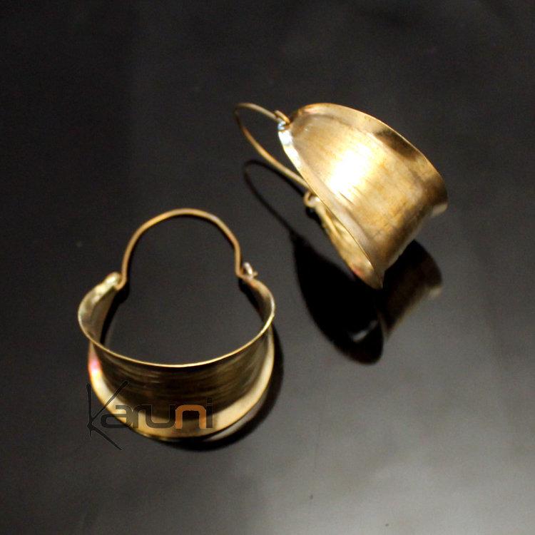Fulani Earrings: Fulani Earrings Golden Bronze Long Leaves African Ethnic