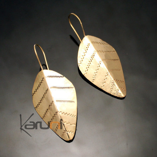 Fulani Earrings Golden Bronze Large Leaves African Ethnic Jewelry Mali