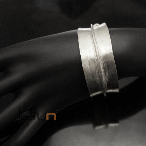 Ethnic African Jewelry Bracelet Bronze Silver Plated Fulani Tribe Leaf 03 Design KARUNI c