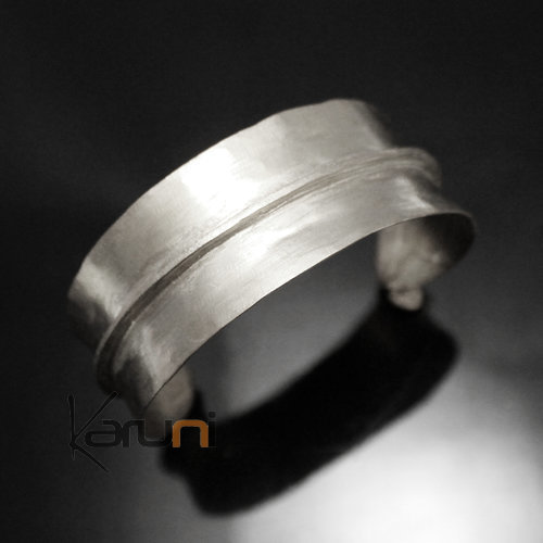 Ethnic African Jewelry Bracelet Bronze Silver Plated Fulani Tribe Leaf 03 Design KARUNI b