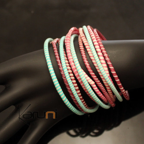 Flip Flop Ethnic African jewelry Plastic Bracelets Jokko Recycled Fair Trade Men Women Children 34 Turquoise Blue/Indian Pink (x12)