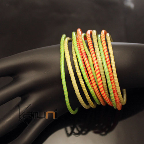 Flip Flop Ethnic African jewelry Plastic Bracelets Jokko Recycled Fair Trade Men Women Children 36 Light Green/Orange (x12)