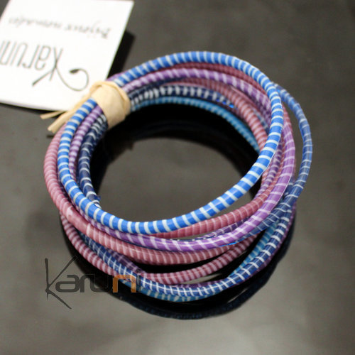 Flip Flop Ethnic African jewelry Plastic Bracelets Jokko Recycled Fair Trade Men Women Children 37 Blue/Mauve Purple (x12)