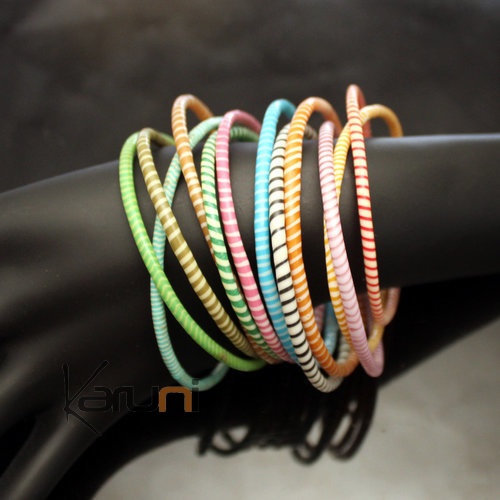 Flip Flop Ethnic African jewelry Plastic Bracelets Jokko Recycled Fair Trade Men Women Children 39 Multicolor Light (x12)
