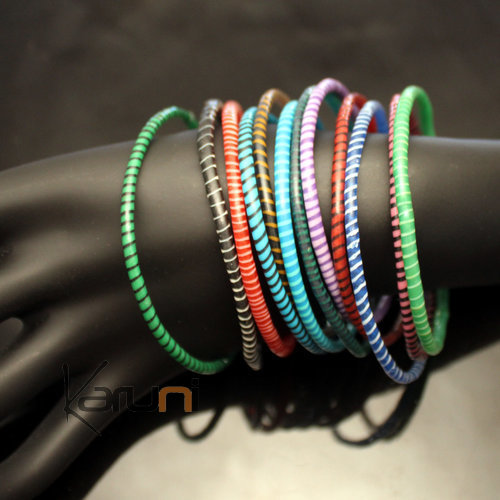 Flip Flop Ethnic African jewelry Plastic Bracelets Jokko Recycled Fair Trade Men Women Children 40 Multicolor Dark (x12)