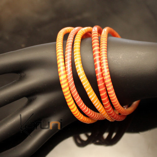 Flip Flop Ethnic African jewelry Plastic Bracelets Jokko Recycled Large Fair Women 03 Red/Orange (x5)
