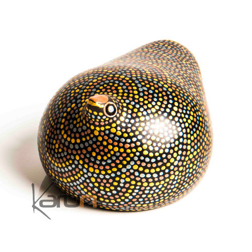 African Pottery Handcrafted Home Decor Silver/Gold/Copper Guinea Fowl from Ethiopia Dana Esteline 9 cm