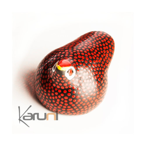African Pottery Handcrafted Home Decor Guinea Fowl from Ethiopia Dana Esteline Red 7 cm