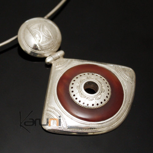 African Necklace Pendant Sterling Silver Ethnic Jewelry Red Agate Fan Tuareg Tribe Design 11
