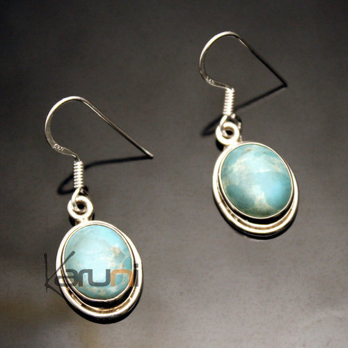 Indian Ethnic Jewelry Earrings in Silver 925 104 Oval India Stone Larimar Turquoise