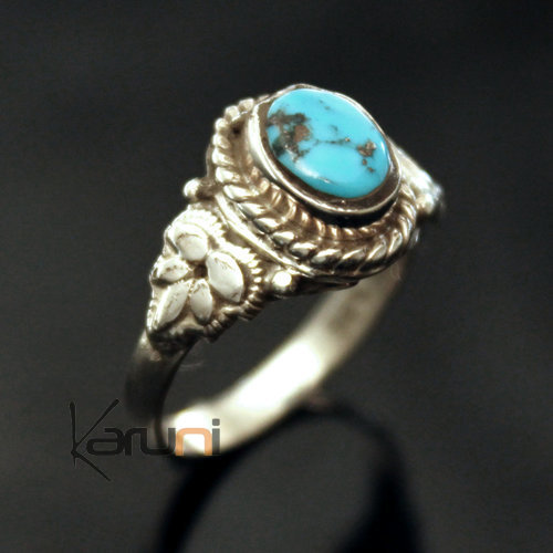 Sterling Silver 925 India Ring 09 Fine Blue Turquoise Leaf