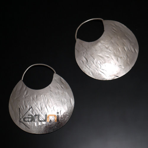 Fulani Earrings Plated Silver Flat Hoops 4,5 cm 1.7 inches African Ethnic Jewelry Mali