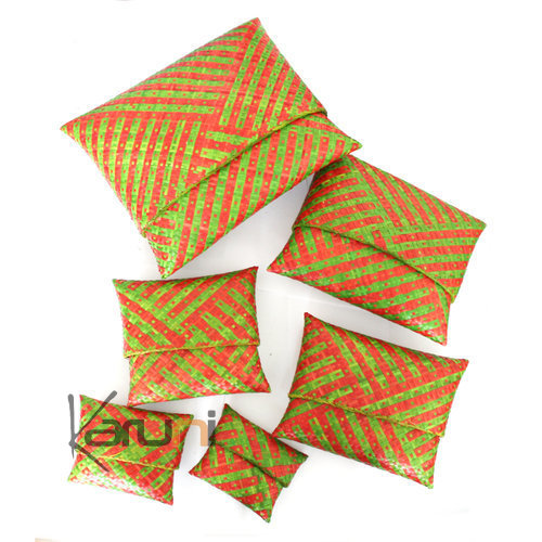 Raffia patterned pouch Lot of 6 - green and orange